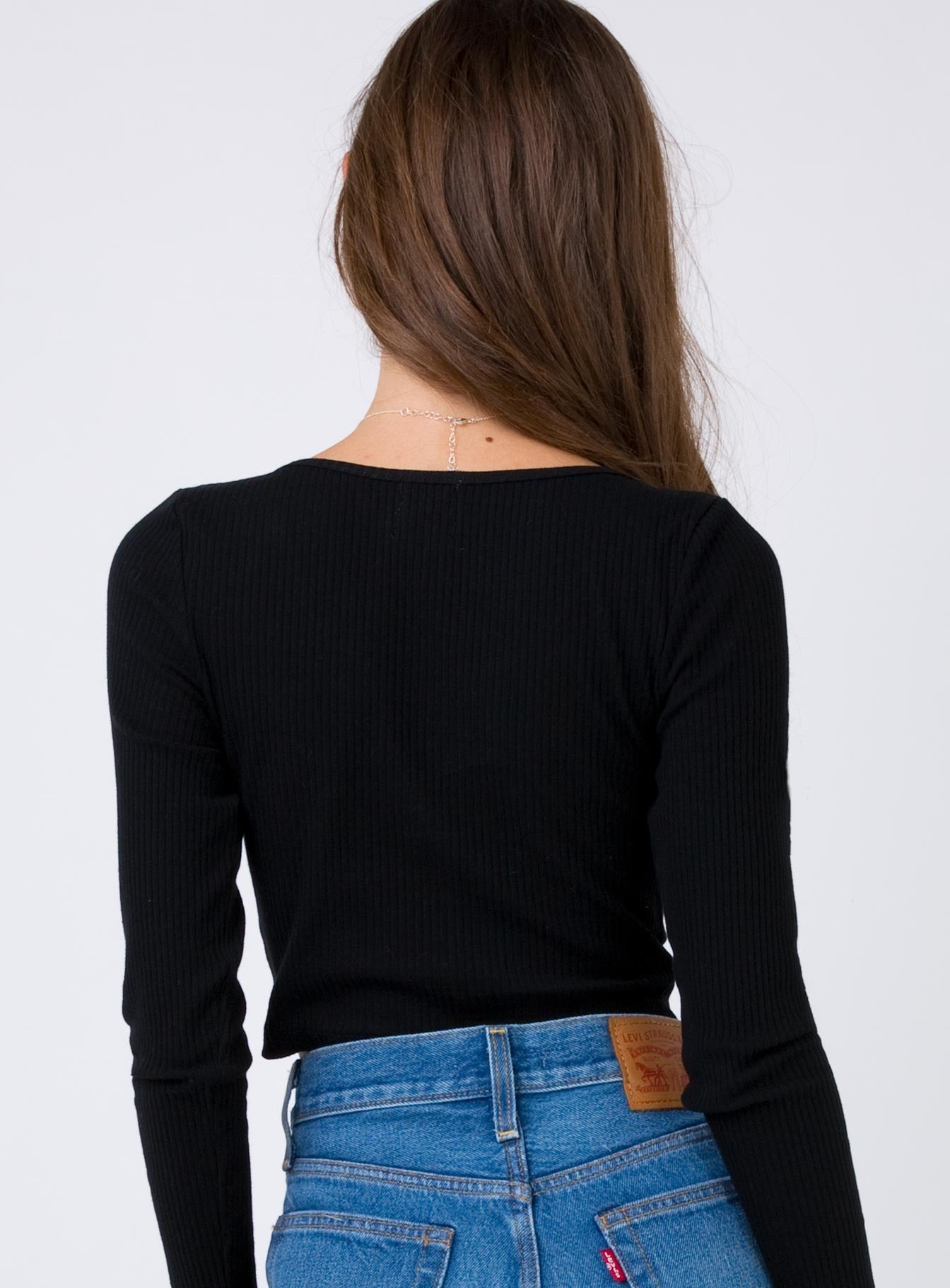 Double Vision Ribbed Crop Black