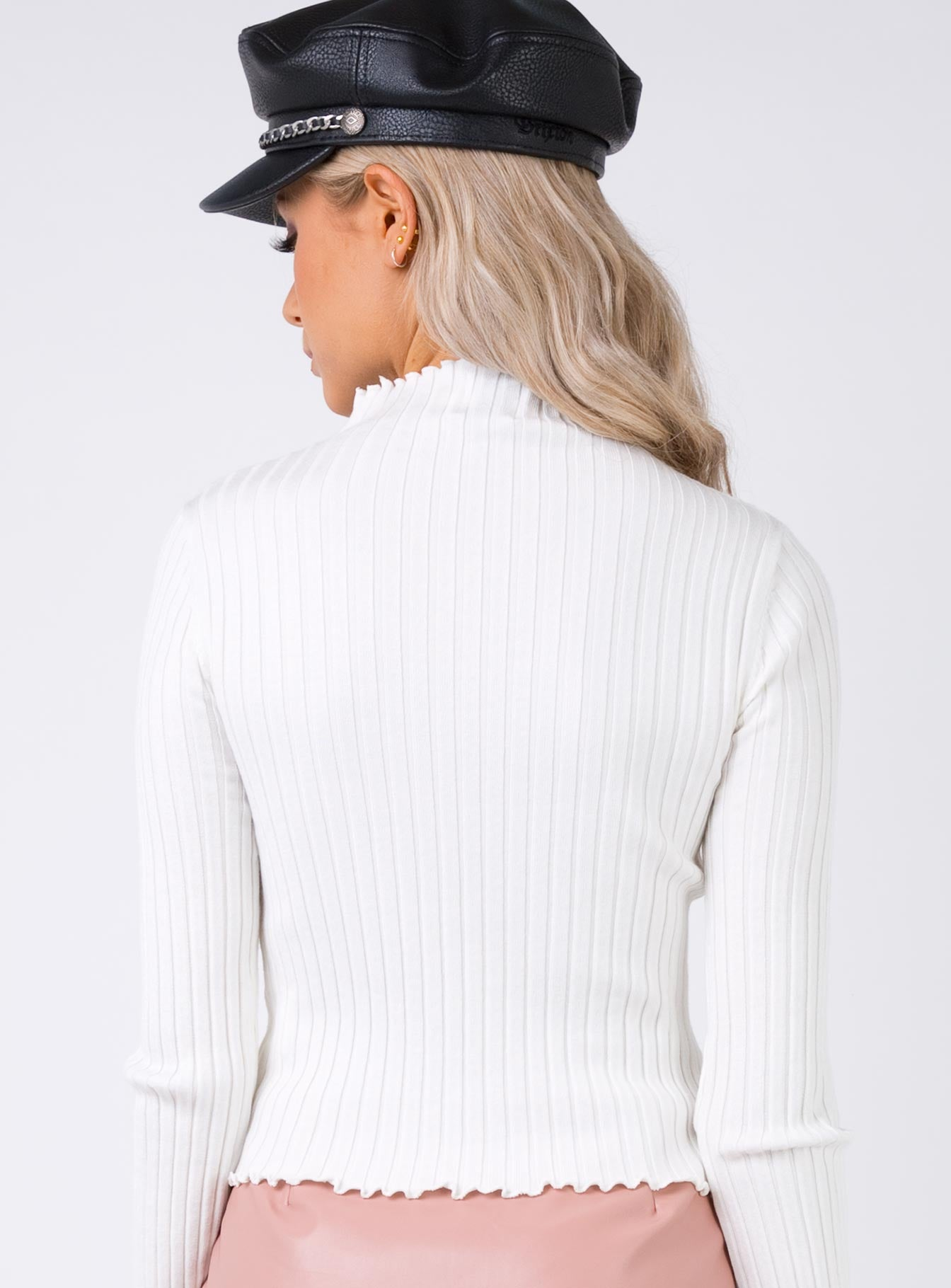 Nice For What Ribbed Top White