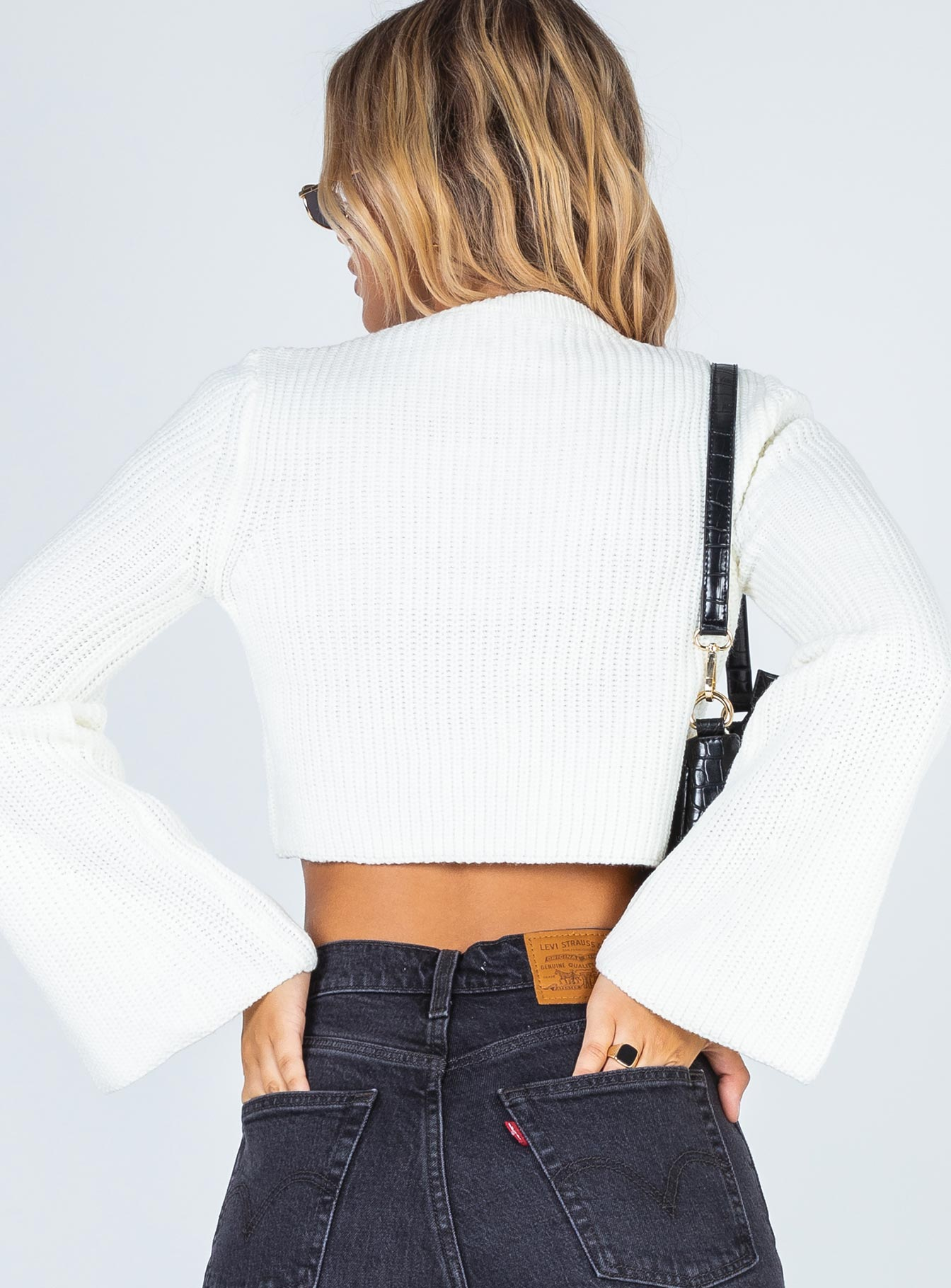 Coastline Cropped Sweatshirt White