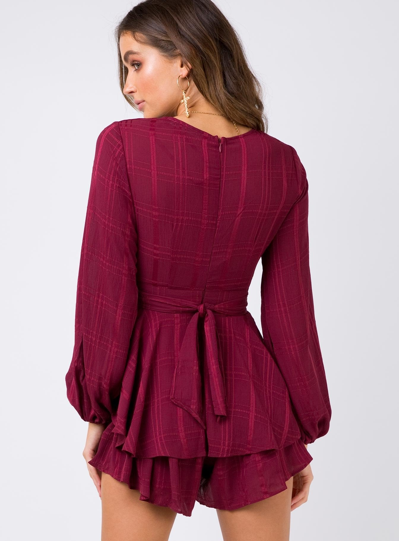 String Of Stars Playsuit Wine