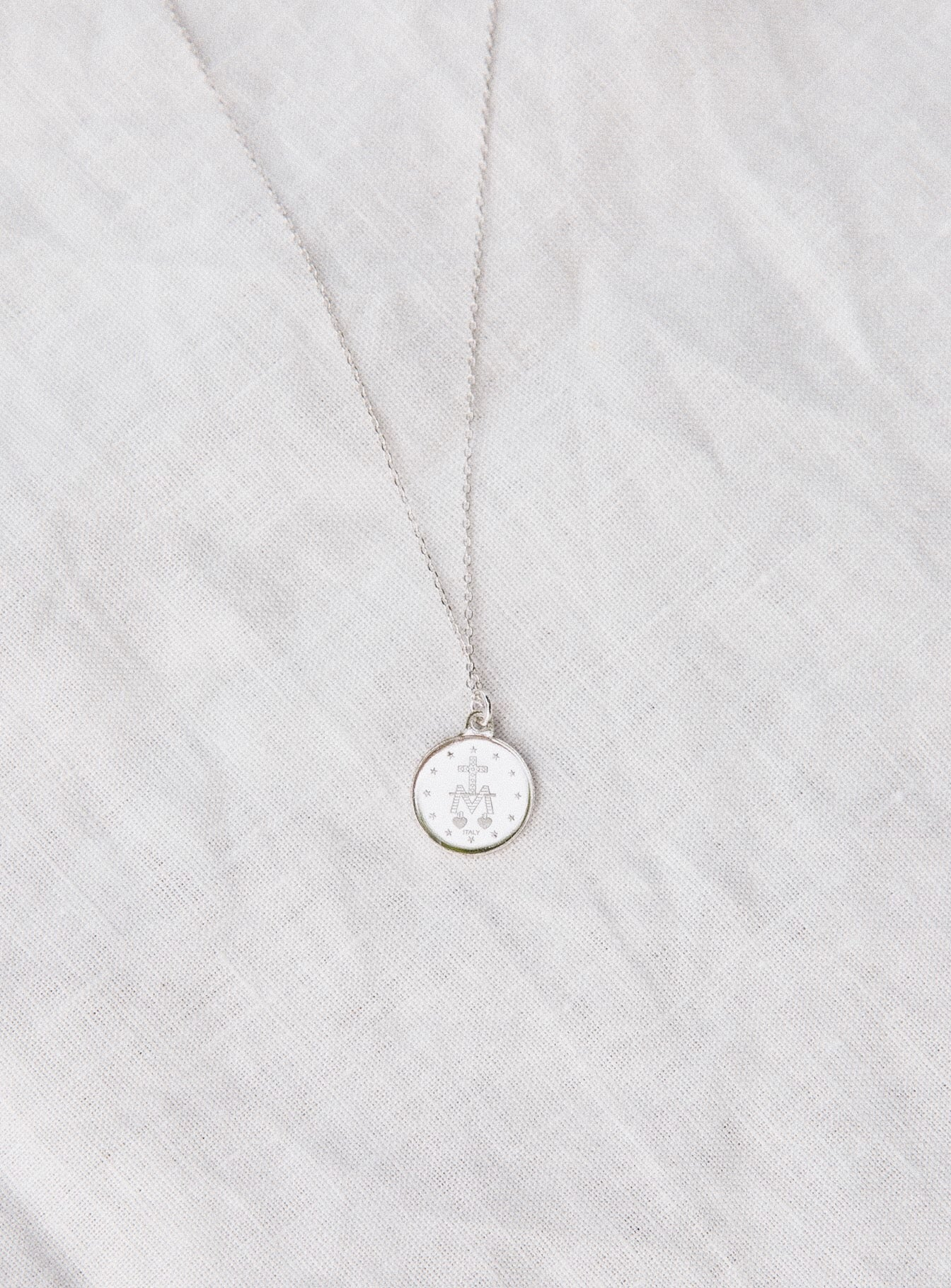 Jolie & Deen Mary Coin Necklace Silver