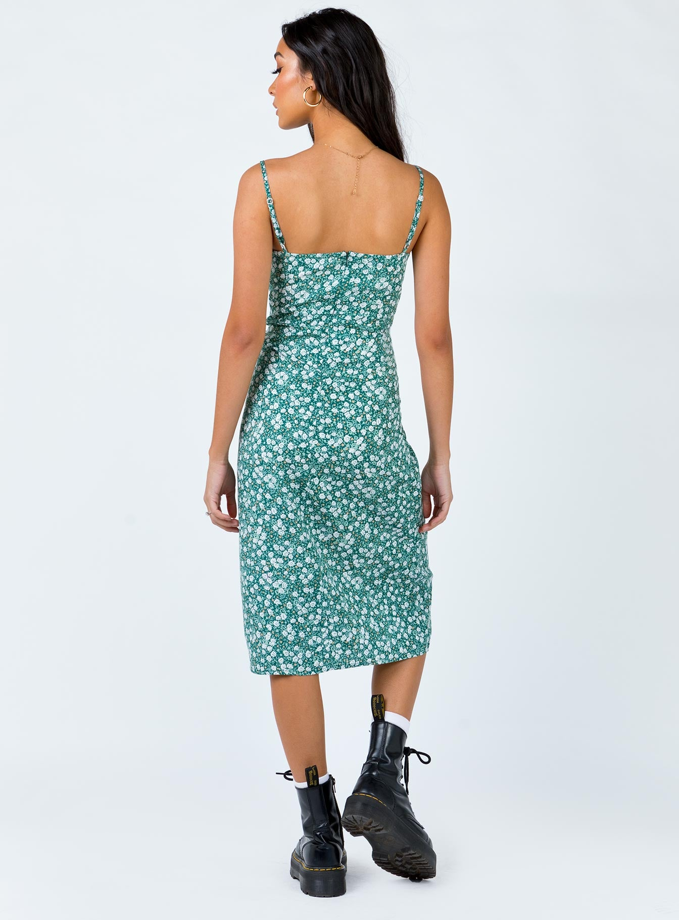 Motel Kaoya Midi Dress Floral Field Mint