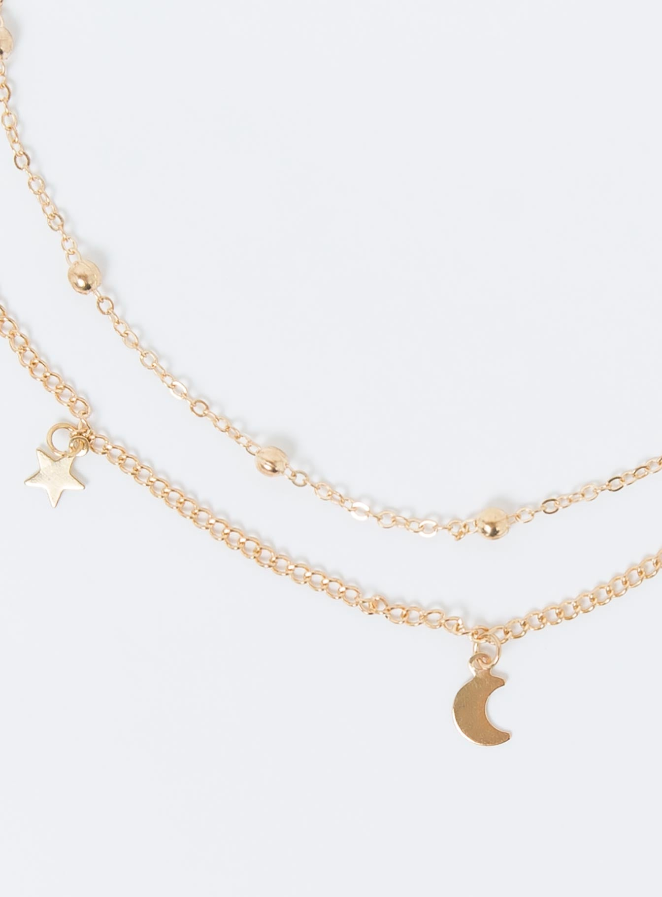 Dainty Star & Moon Necklace Gold