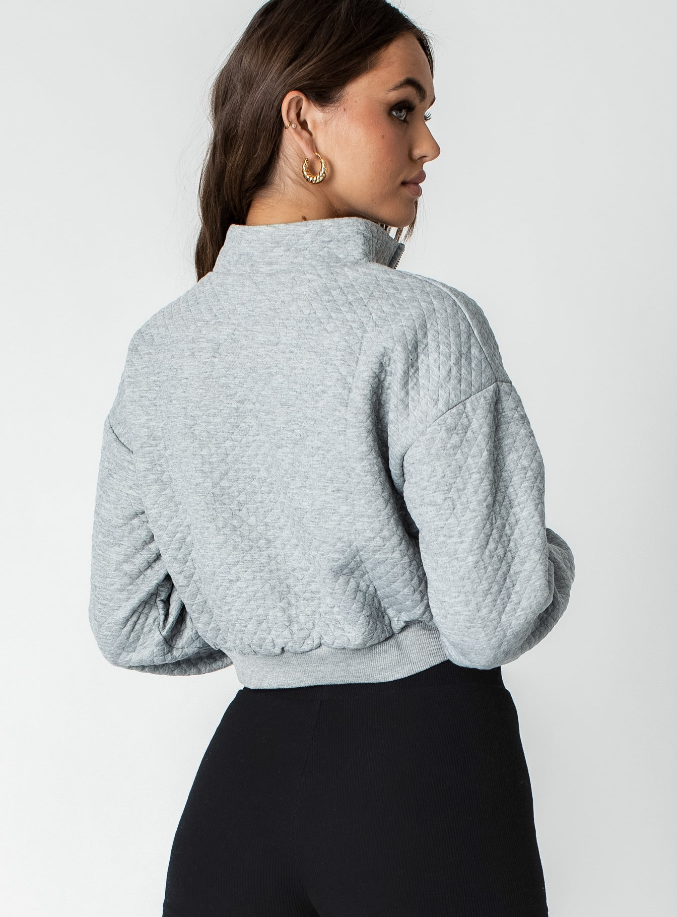 Paloma Cropped Quarter Zip Sweatshirt Grey