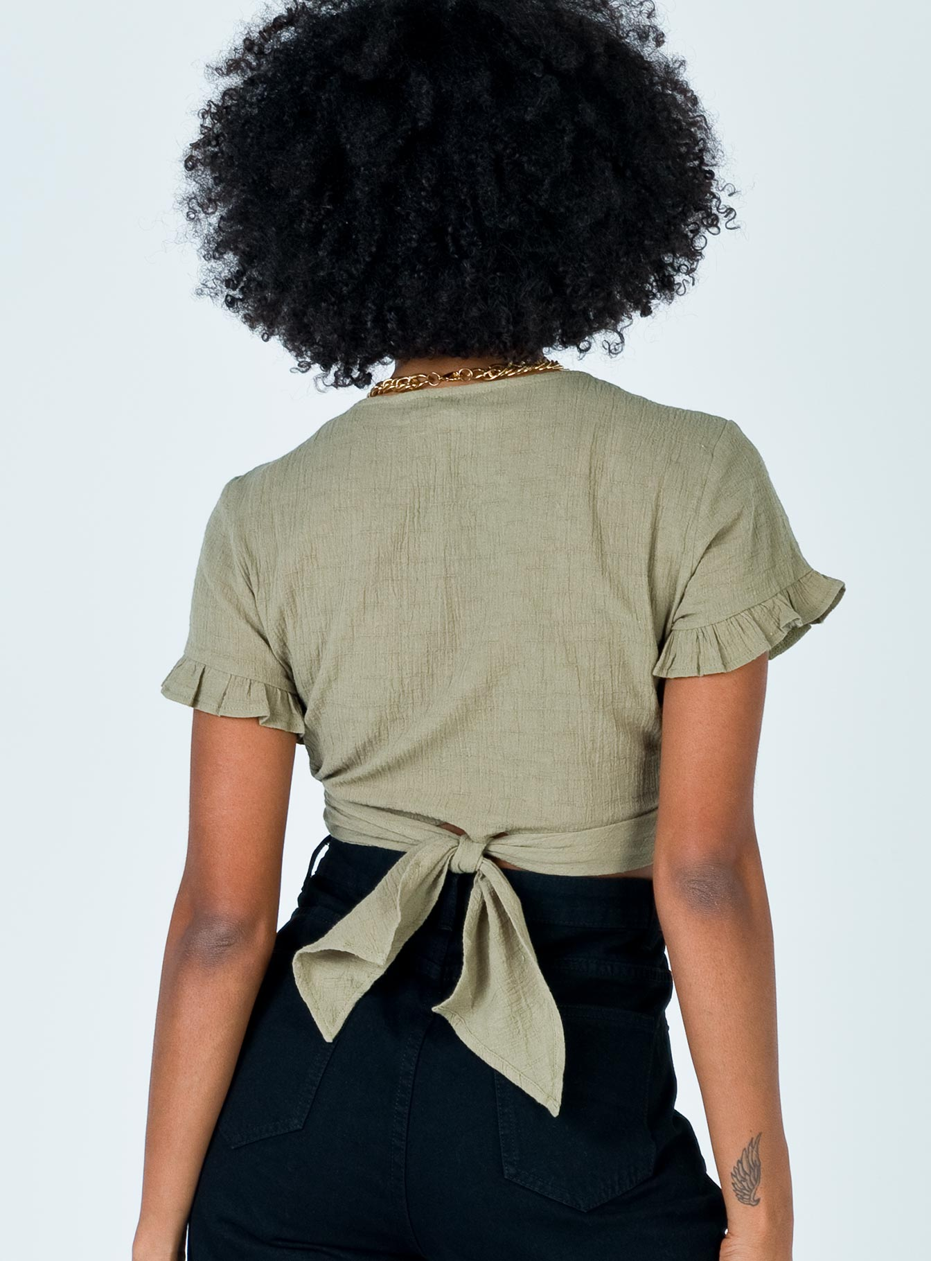 Honey Honey Tie Up Top Khaki