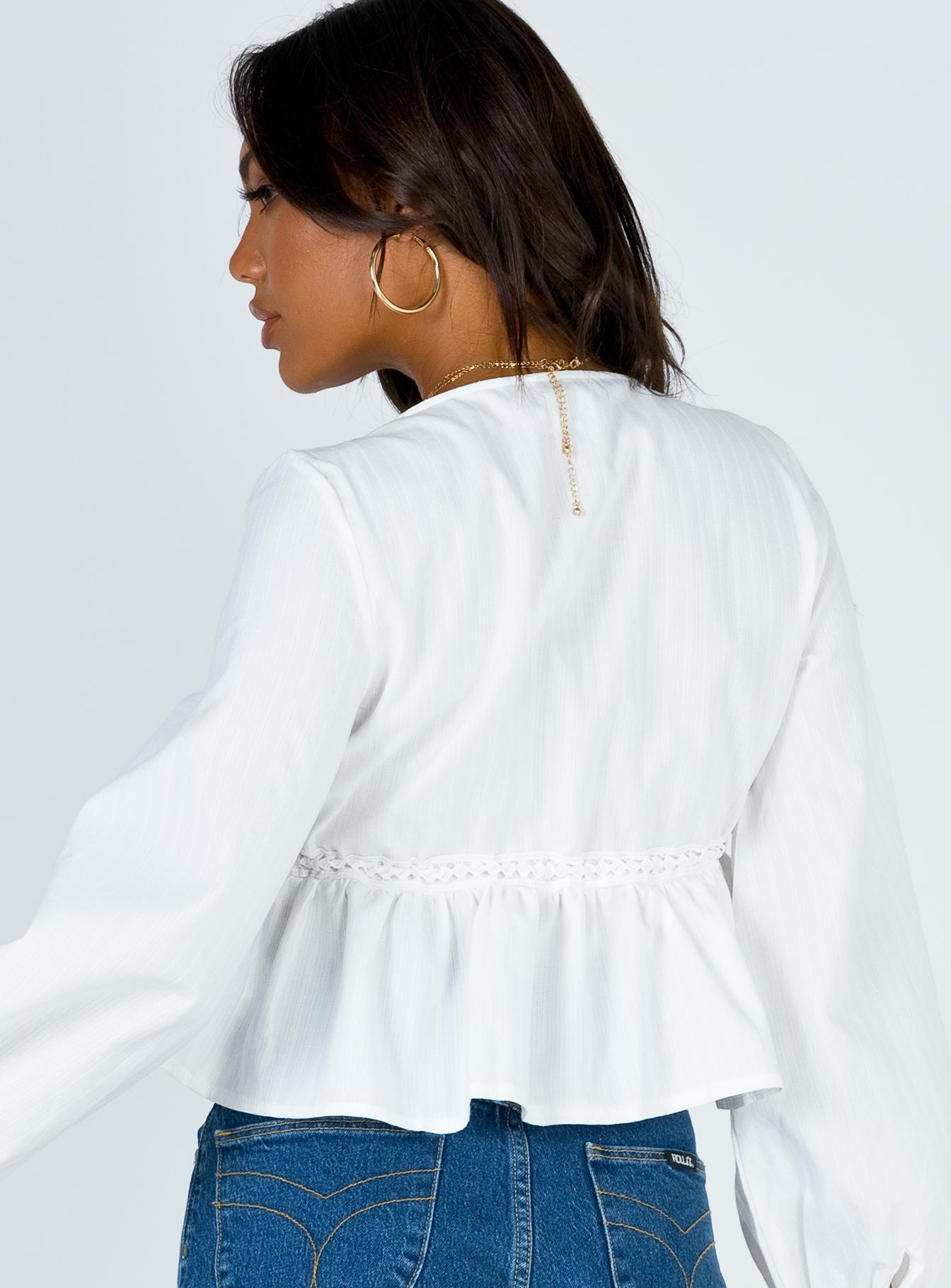 Rain Dance Tie Front Top White