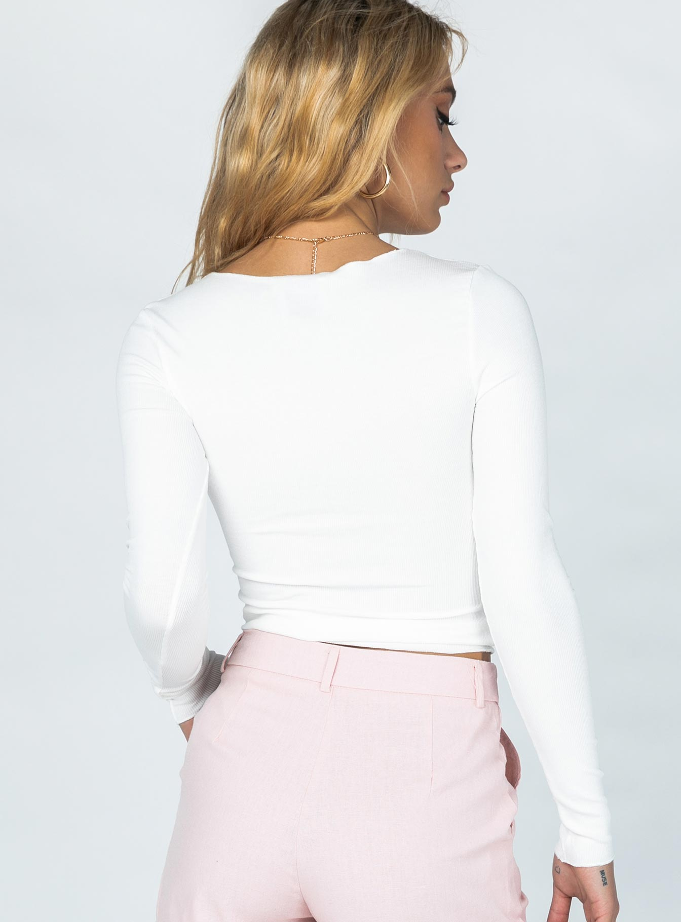 Penny Lane Ribbed Top White