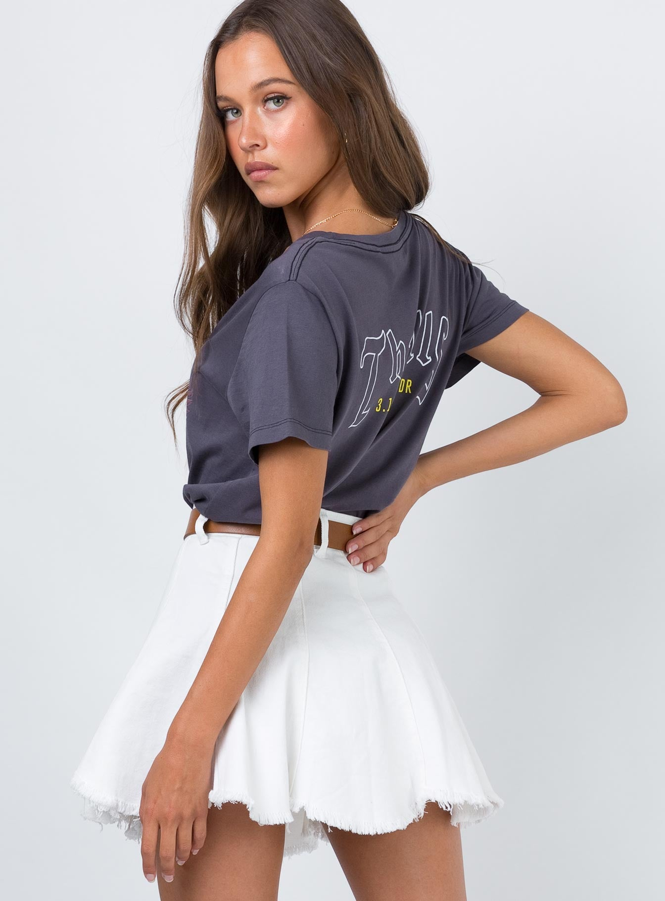 Jaz Denim Mini Skirt White