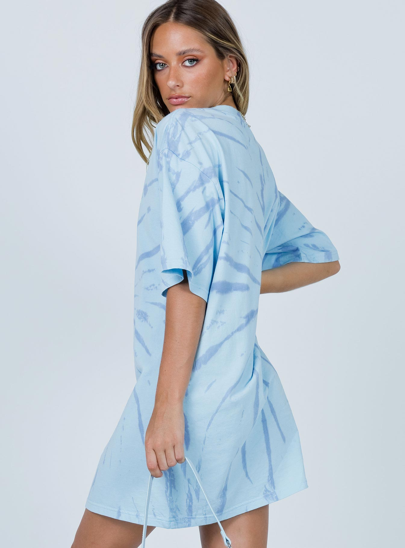 Vacation Mood Blue Tie-Dye Tee Dress