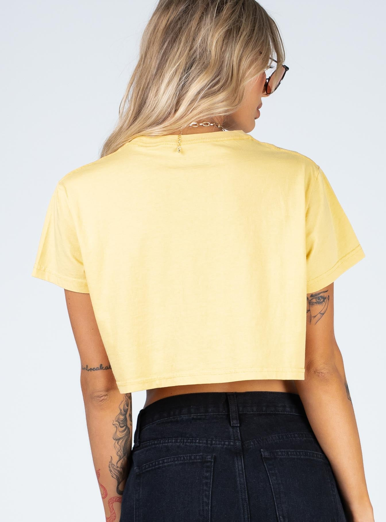 Rolling Stones Pink Tongue Crop Tee Yellow