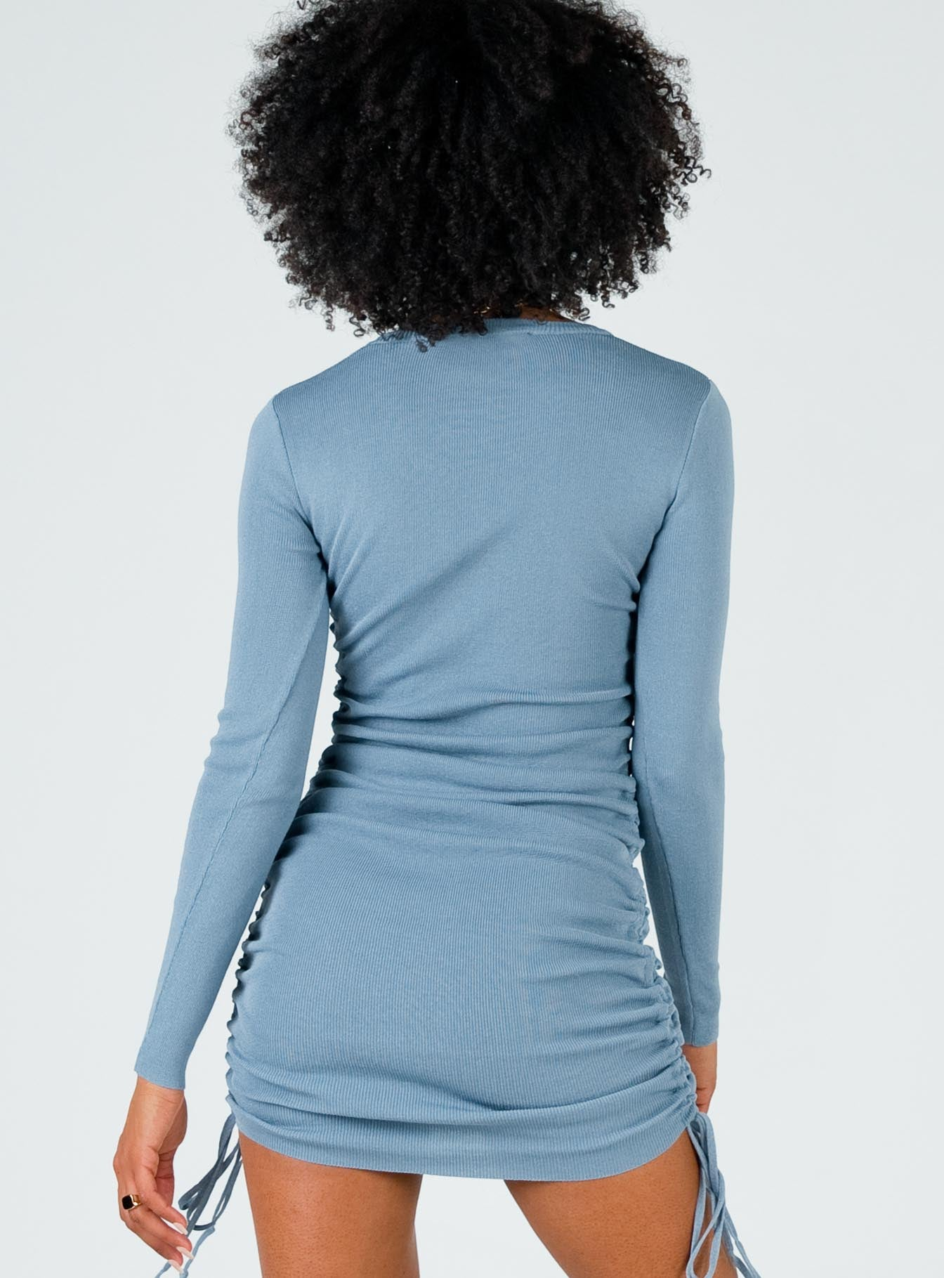 Military Minds Long Sleeve Mini Dress Dusty Blue