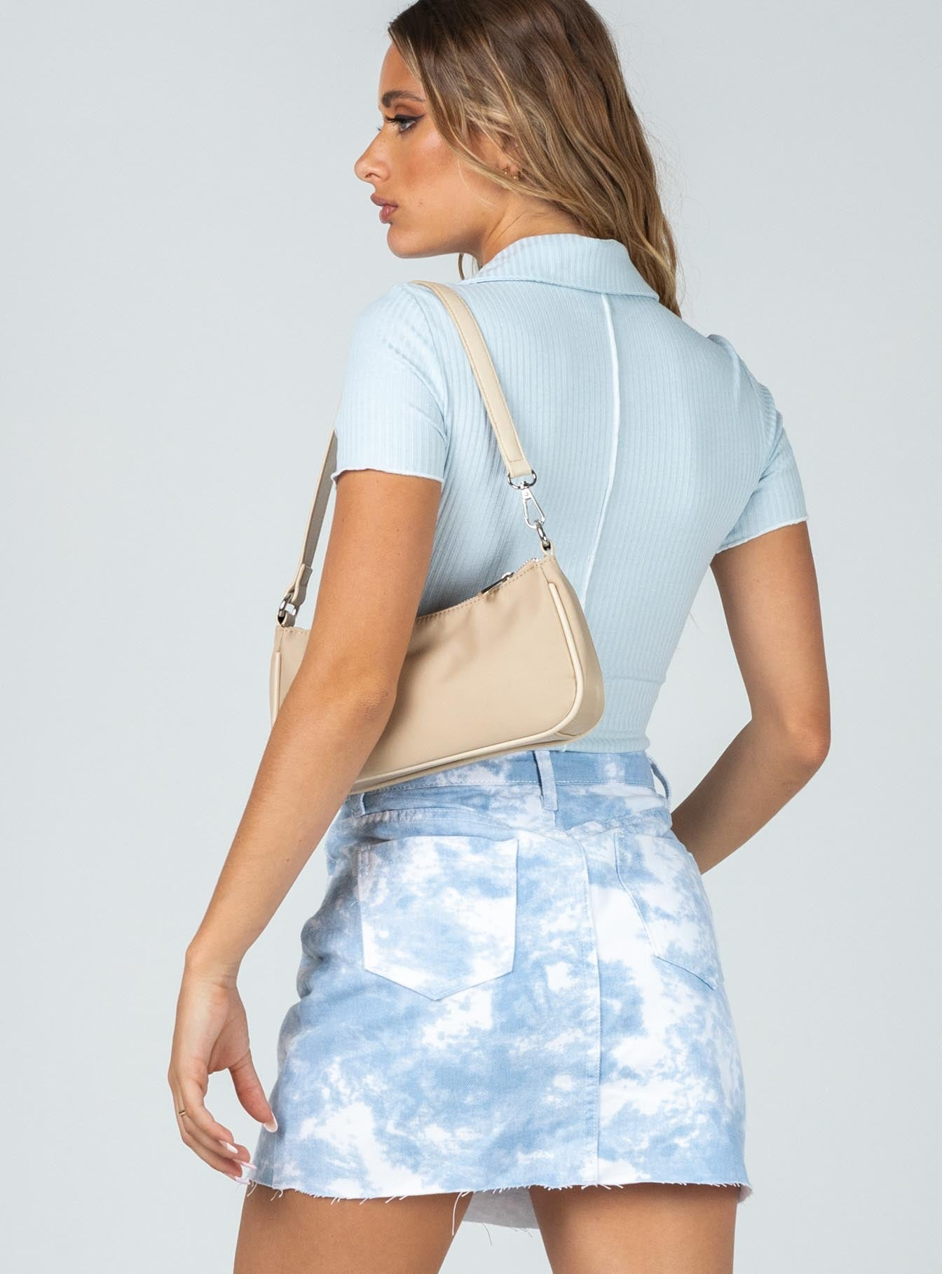 Up In The Clouds Denim Mini Skirt