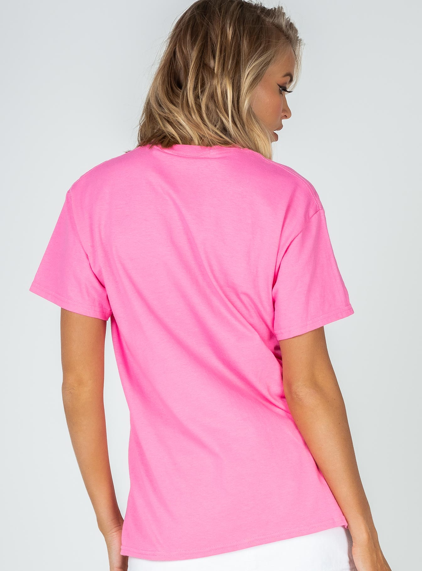 The Ragged Priest Pink Tee With Im Dead Embroidery