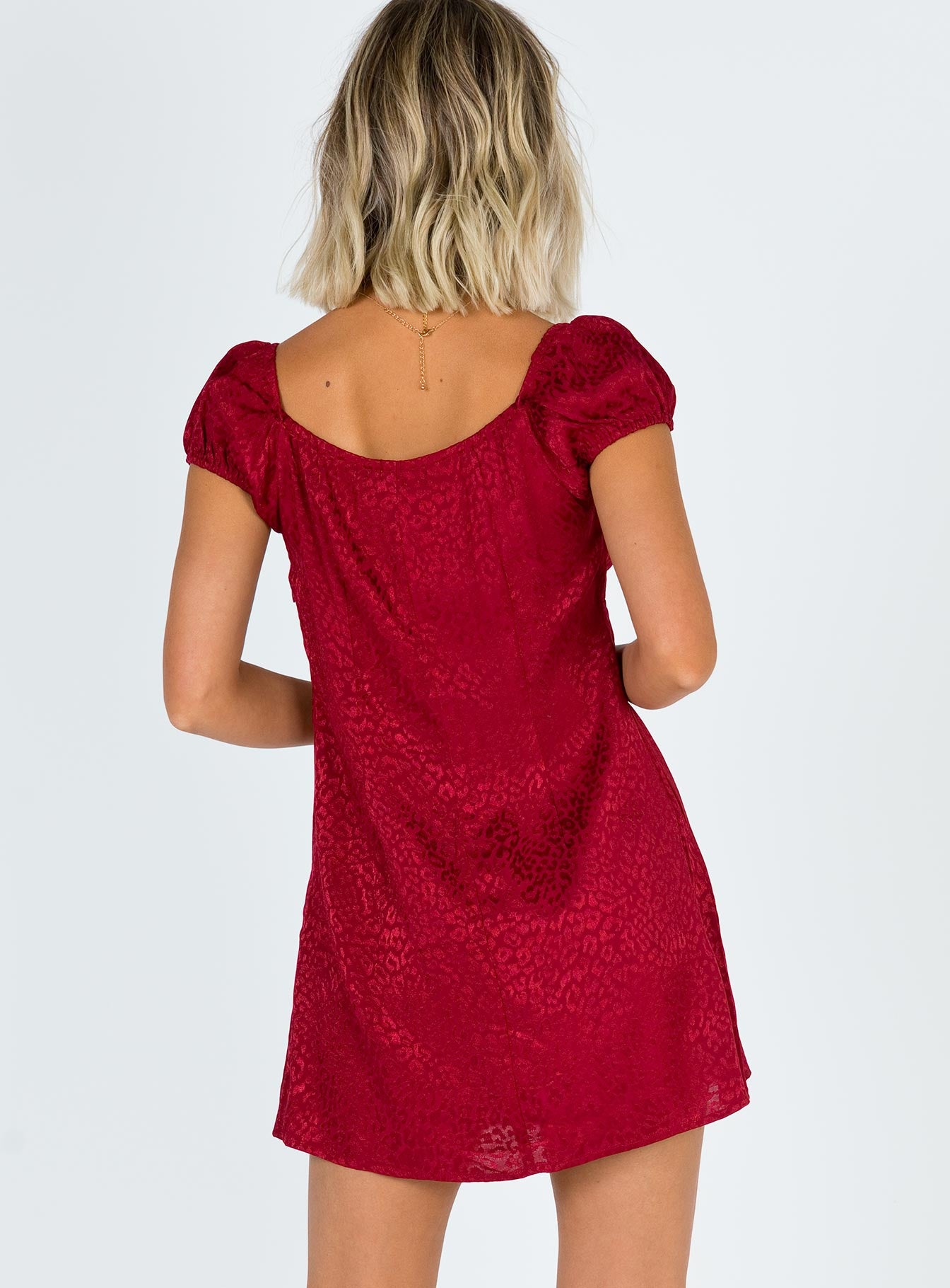 Motel Gaval Dress Satin Cheetah Raspberry