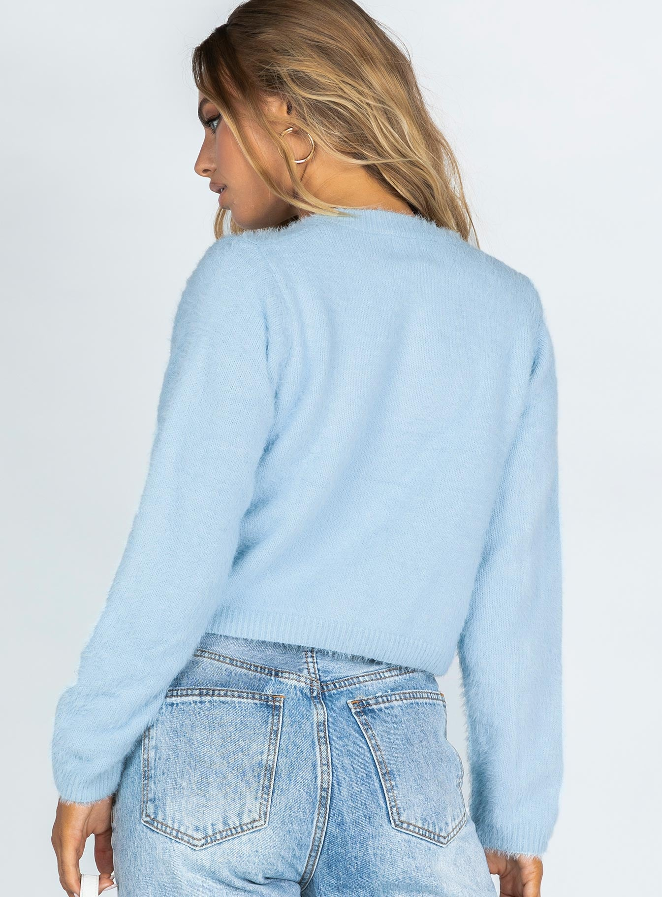 Cindy Cropped Cardigan Blue