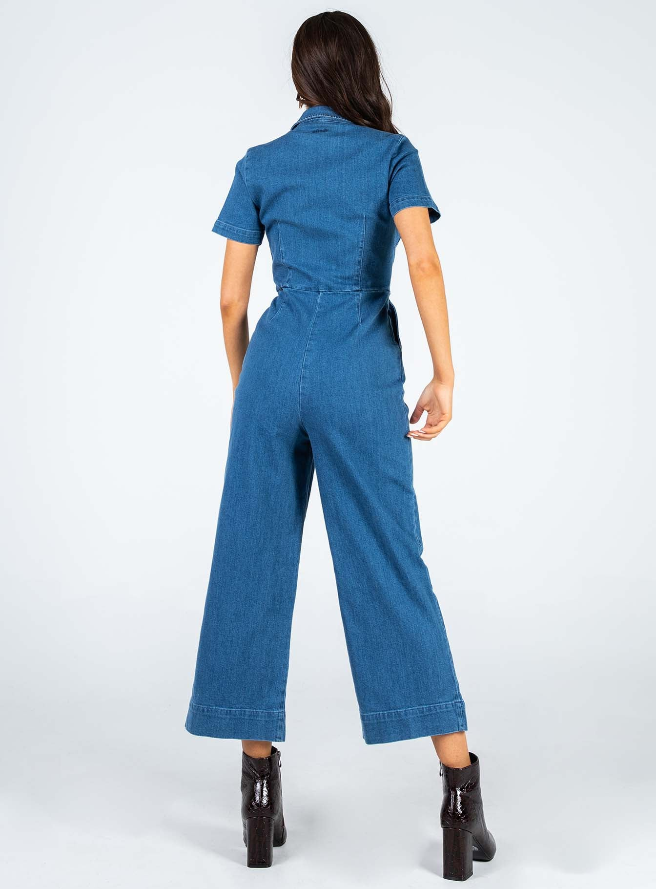 Afends Cora Denim Boilersuit Washed Indigo