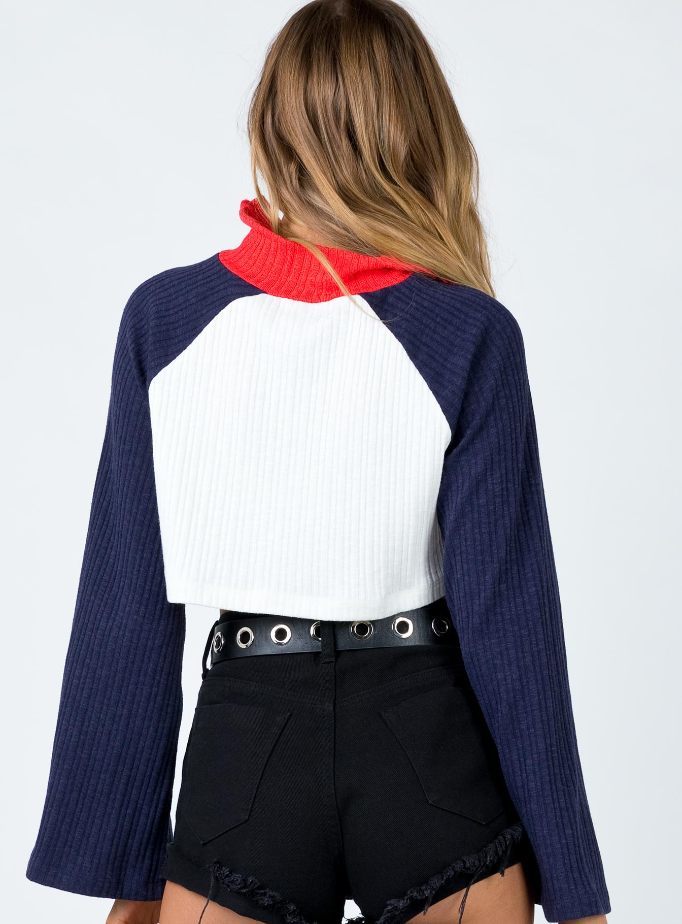 TWIIN Circuit Knit Top White/Navy
