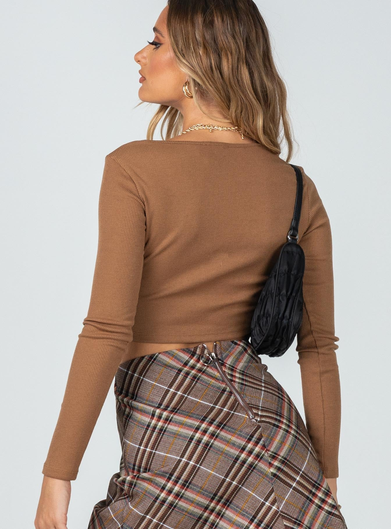 The Classic Long Sleeve V Neck Top Brown