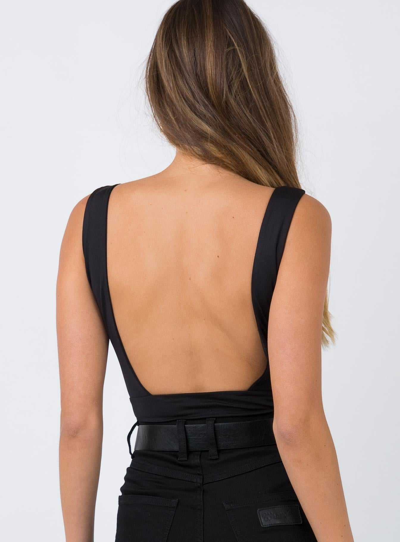 11th Hour Plunge Bodysuit Black