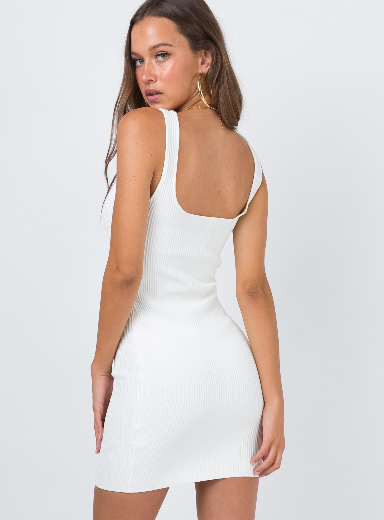 The Gracie Knit Mini Dress White