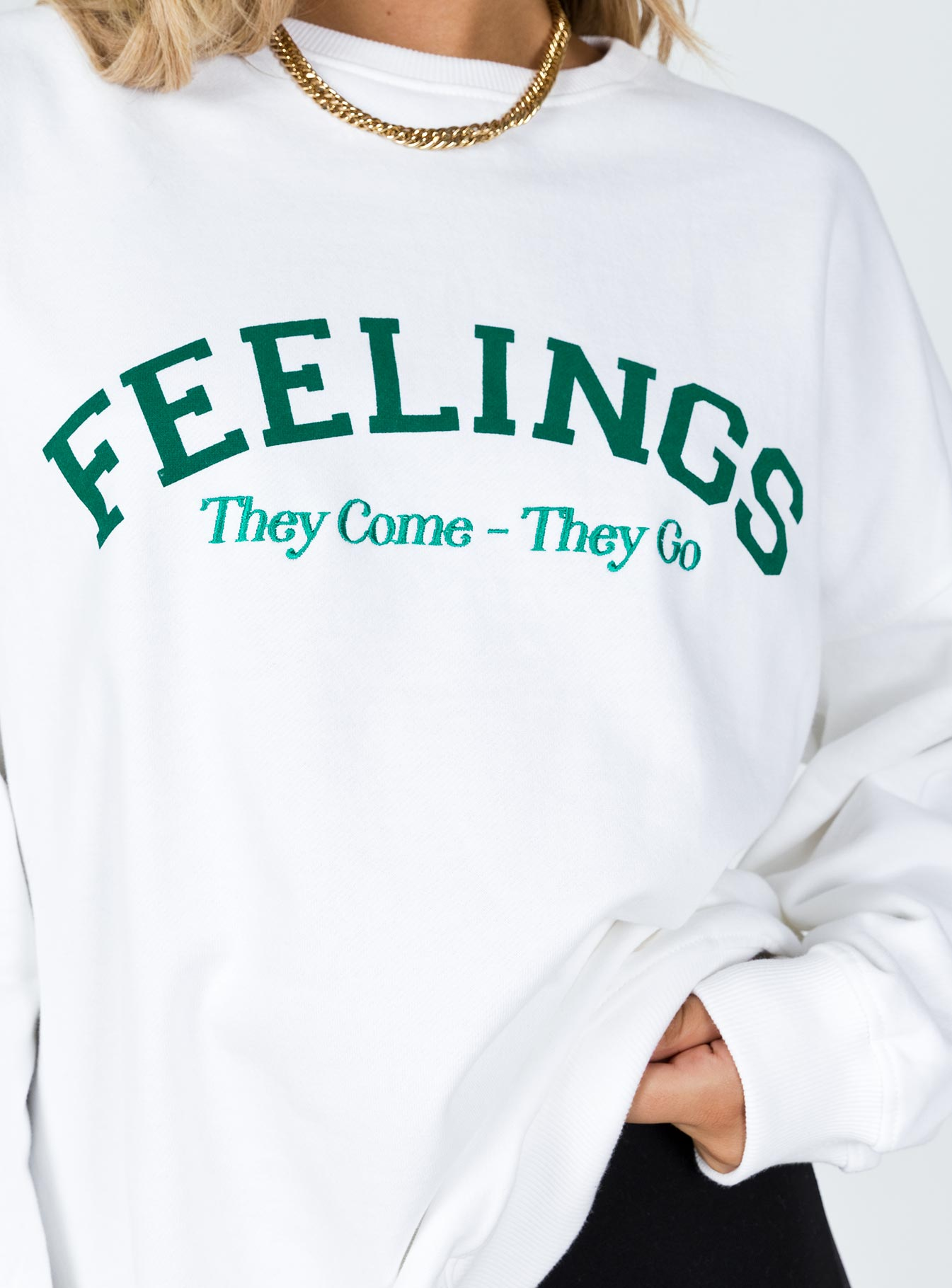 Motel Glo Sweatshirt Feelings They Come They Go White