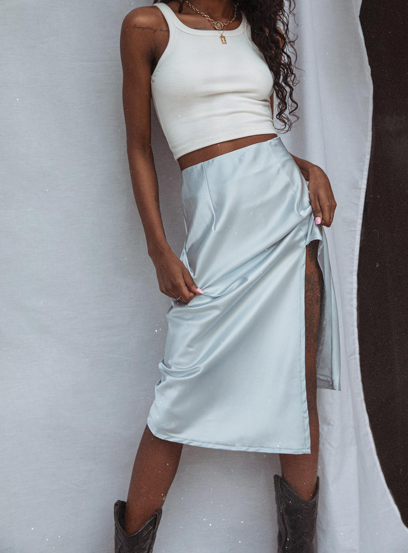Charlize Midi Skirt Ice Blue
