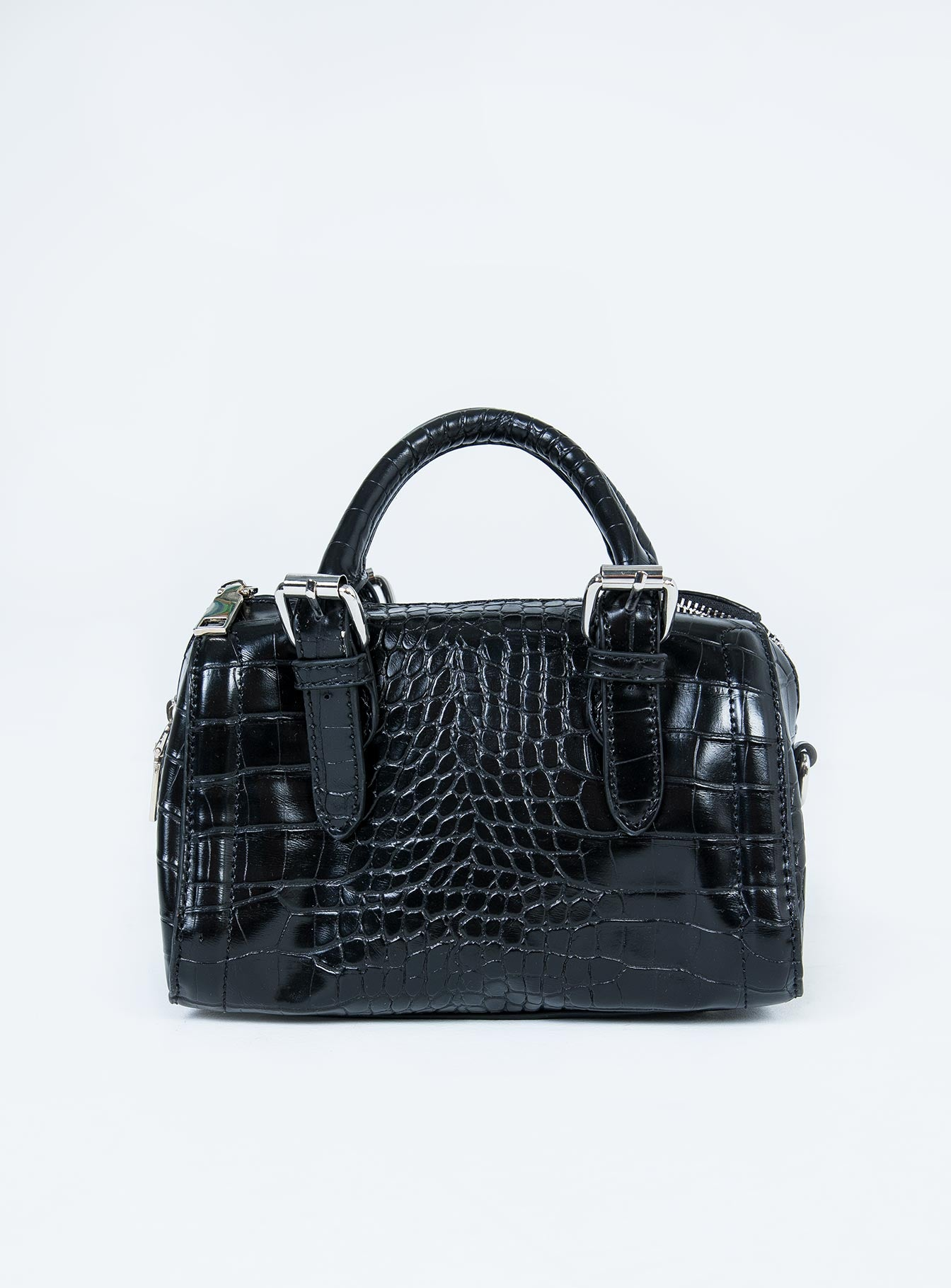 Peta & Jain Rylee Mini Bowler Bag Black Croc