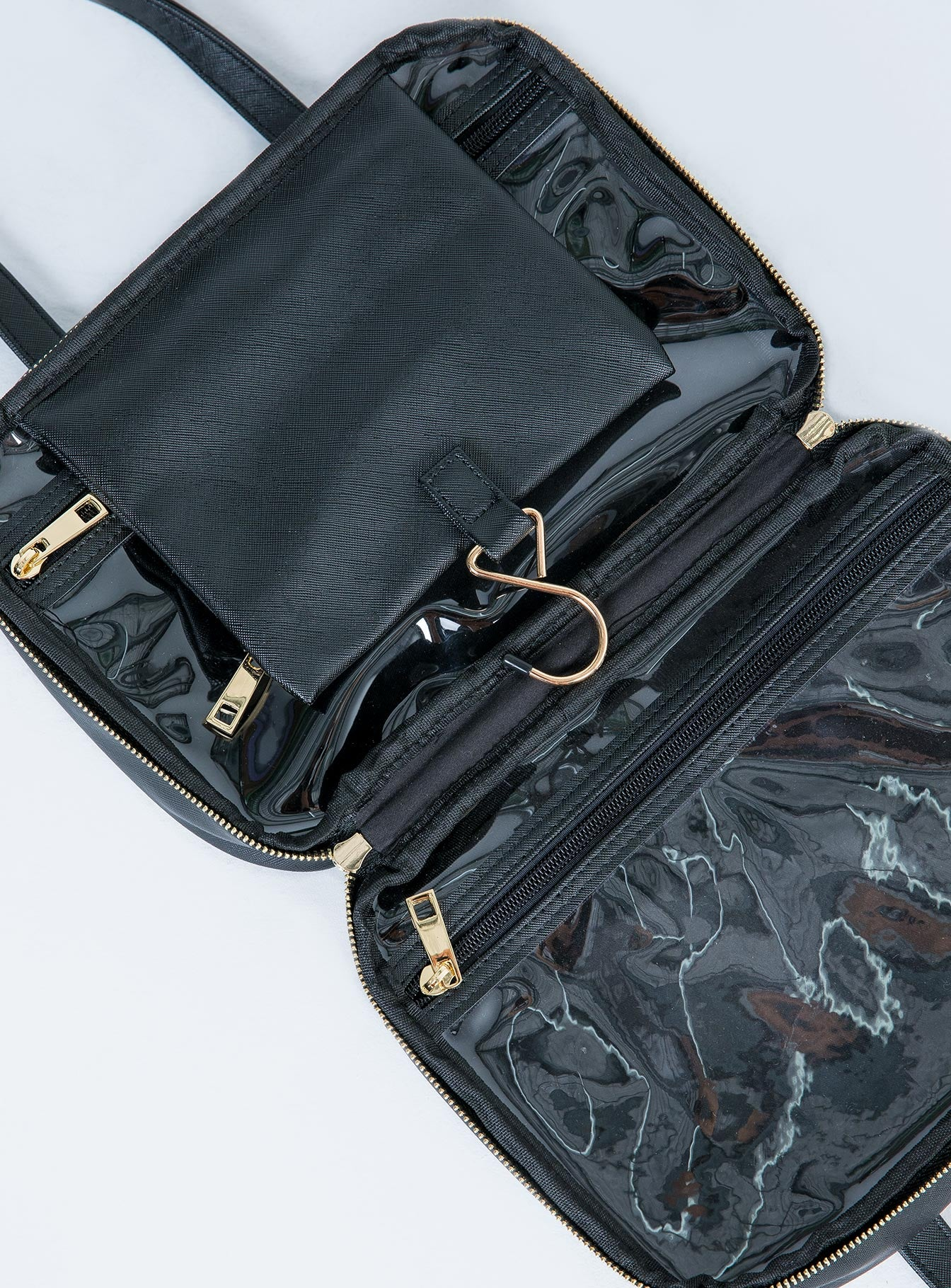 Peta & Jain Sutton Black Saffiano Make-Up Bag