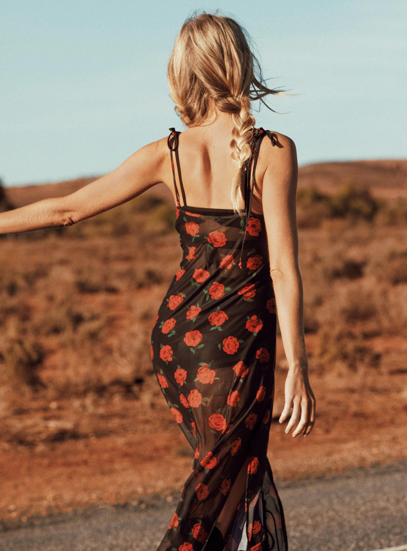 Motel Hila Dress Last Rose Print Black