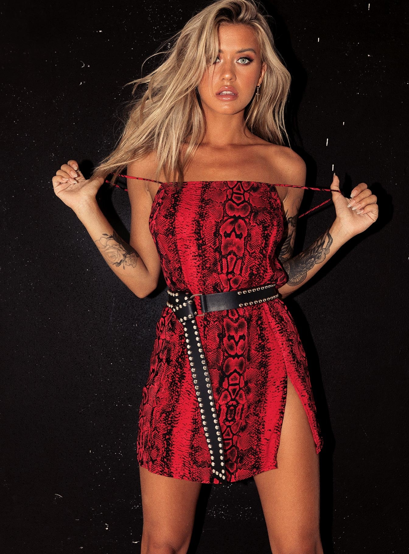 Motel Datista Slip Oversize Red Snake