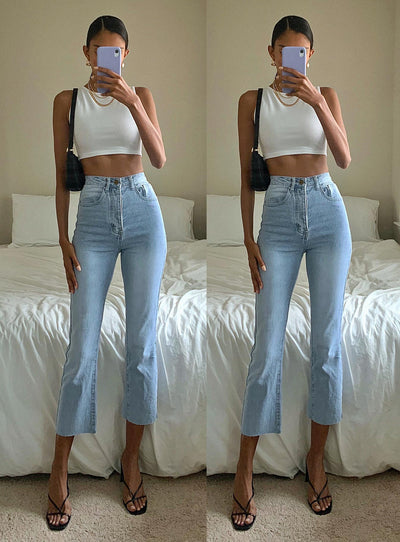 Angela Cropped Jeans Light Wash Denim