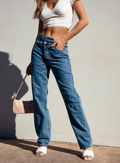 Holly Asymmetric Straight Leg Jean Mid Wash Denim