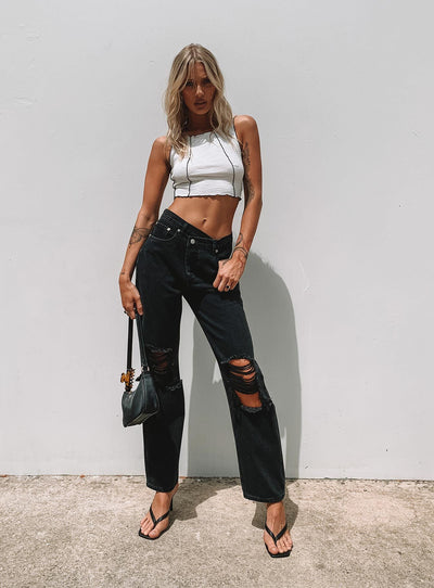 Holly Asymmetric Ripped Leg Jeans Black Denim