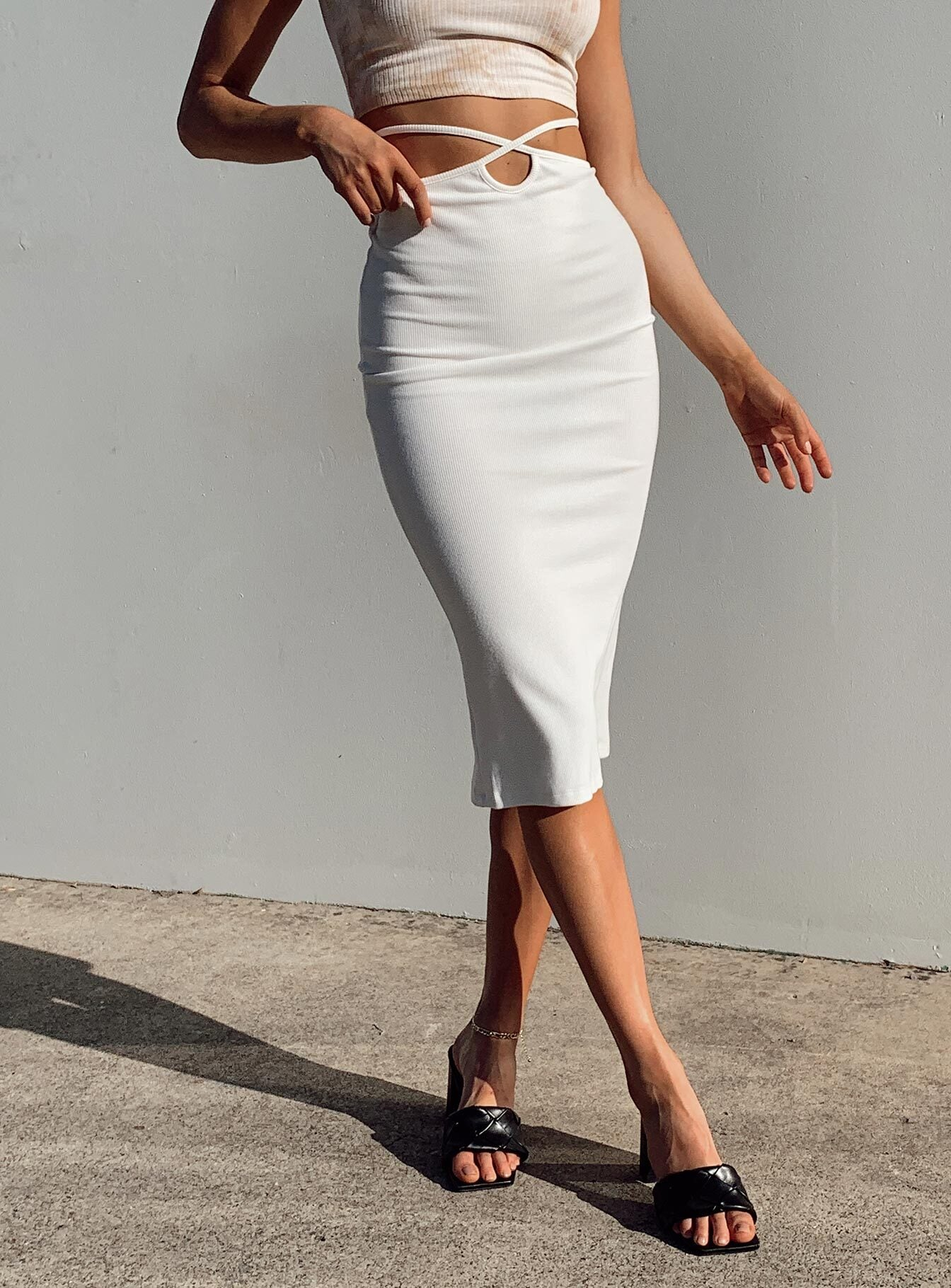 Pacey Midi Skirt White