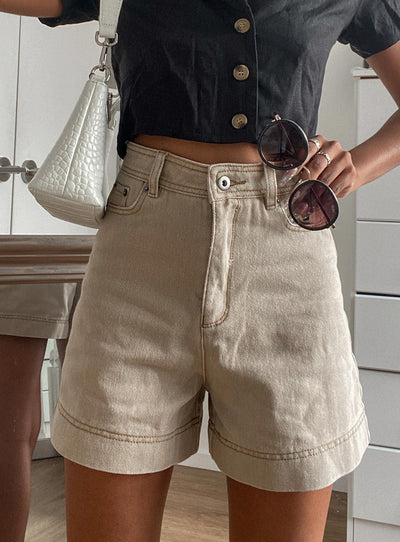 Marisa Long Line Shorts Beige