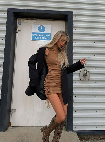Military Minds Mini Dress Camel