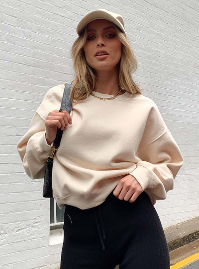 Mollie Oversized Crewneck Sweatshirt Cream