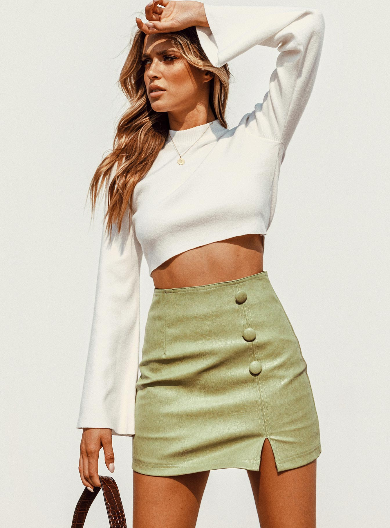 Side By Side Long Sleeve Crop Knit White