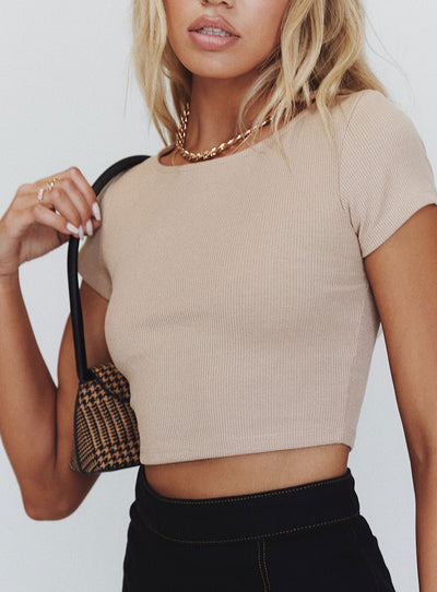 The Classic Cropped Tee Beige