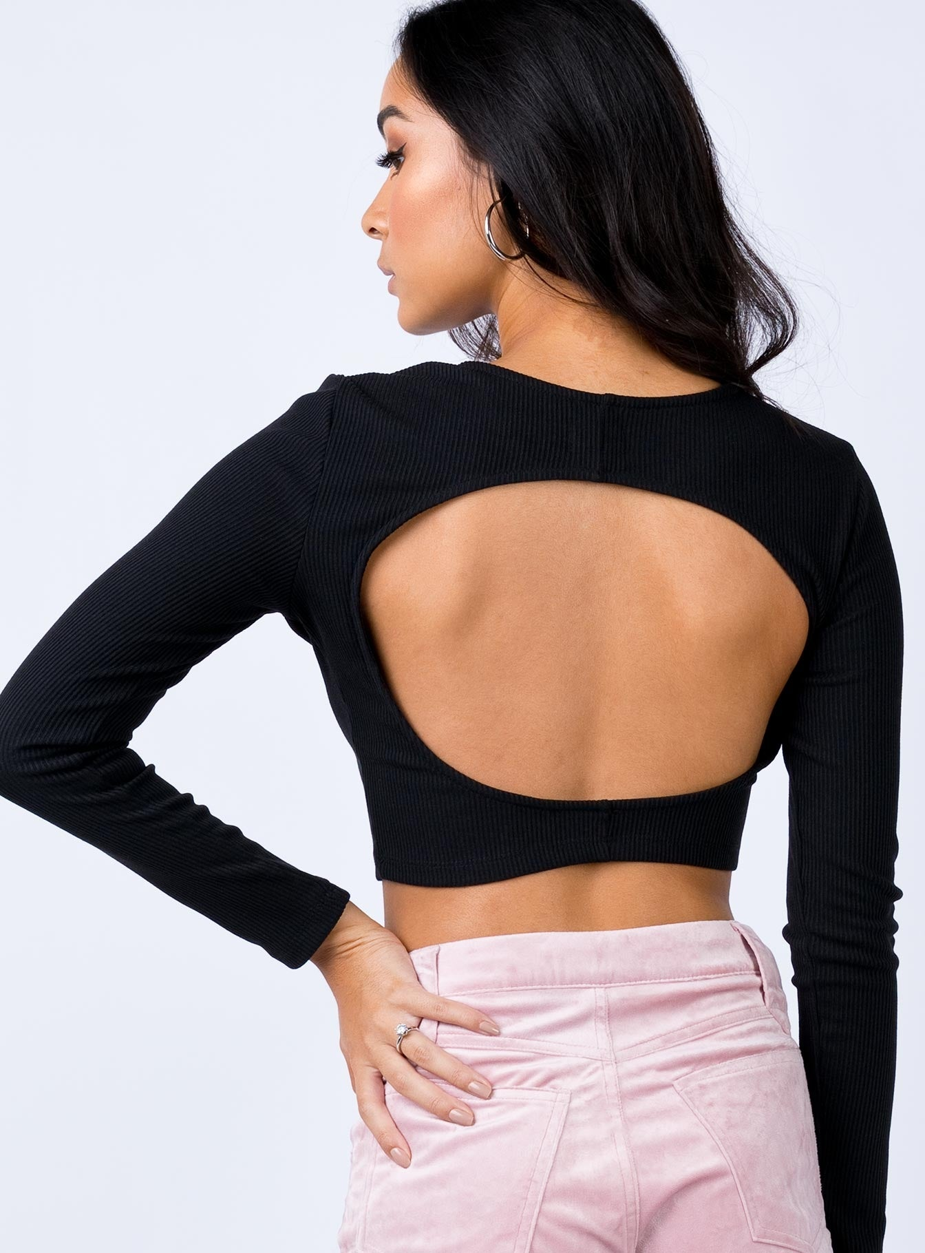 Keyhole Crop Top Black