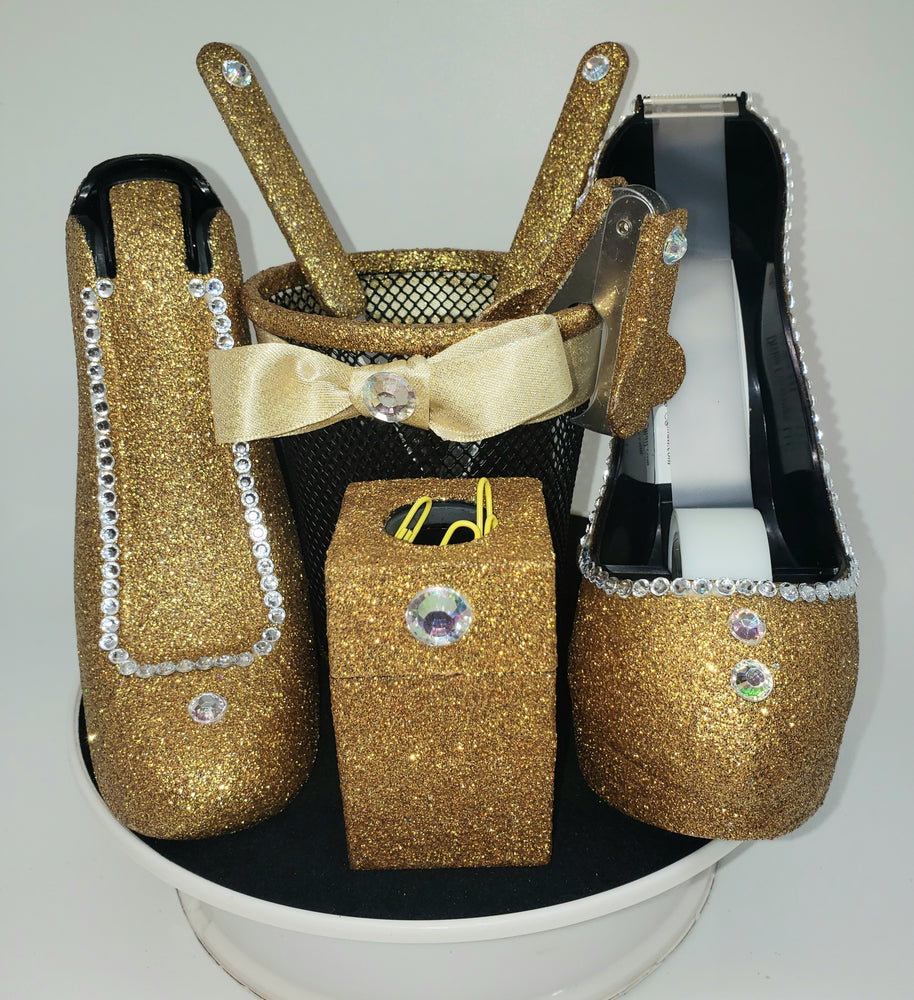 Bling Glitter Office Supplies Set (8 pieces) - Gold Base
