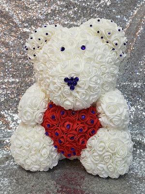 Rose Bear Teddy with Heart – 14""