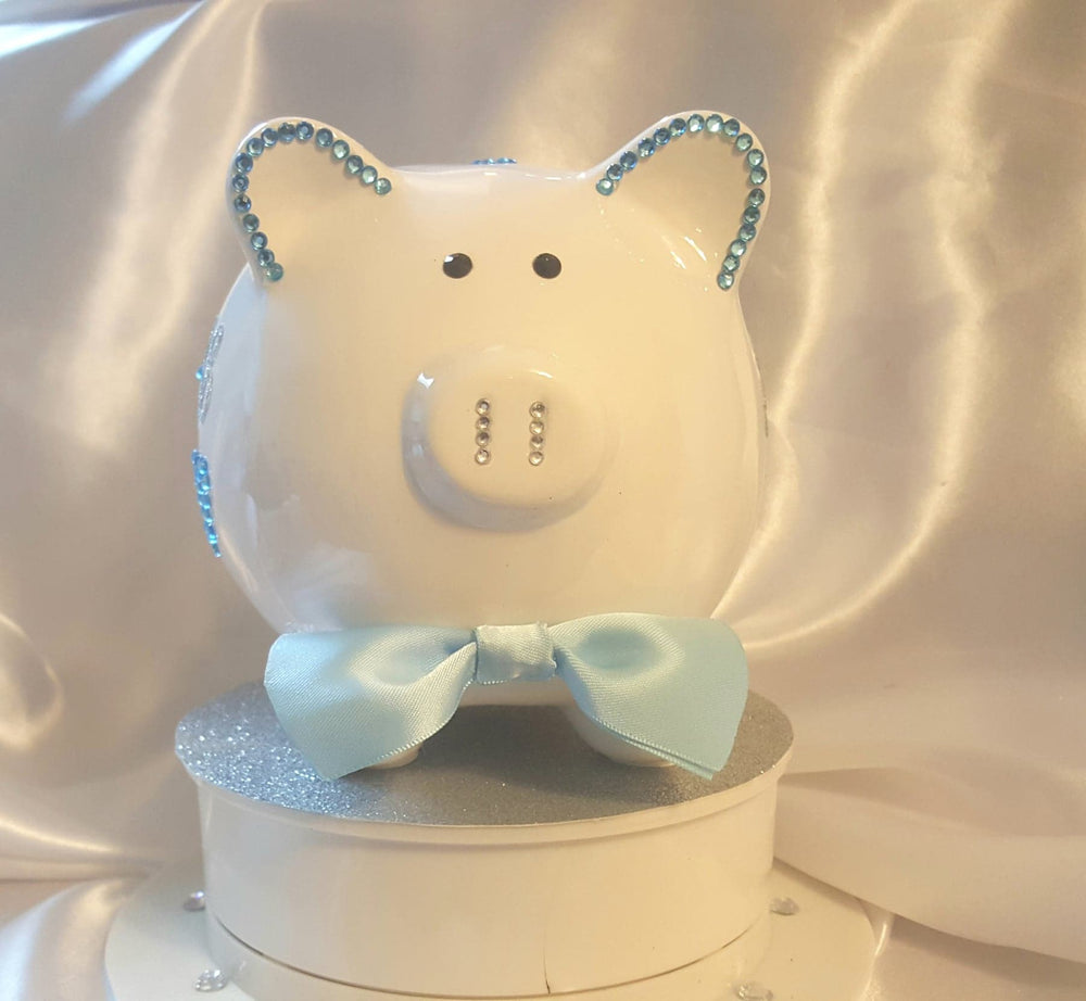 Ceramic Personalized Piggy Bank - Blue Rhinestones/Bow Tie