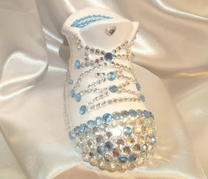 Ceramic Personalized Sneaker Bank - Blue/Silver Rhinestones