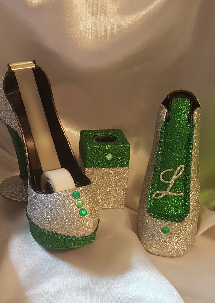 Glitter Rhinestone High Heel Stapler, Set of 1