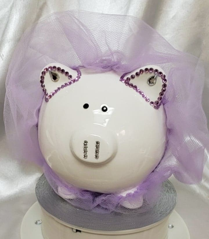 Ceramic Personalized Piggy Bank - Rhinestones, Tulle