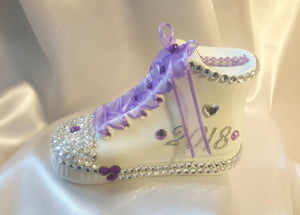 Mini Ceramic Personalized Sneaker Bank - Purple/Silver Rhinestones