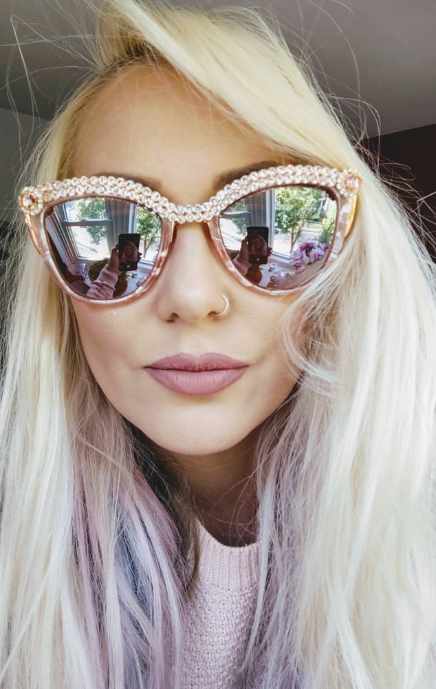 Pearlized Rose Marble Women Cat Eye Sunglasses