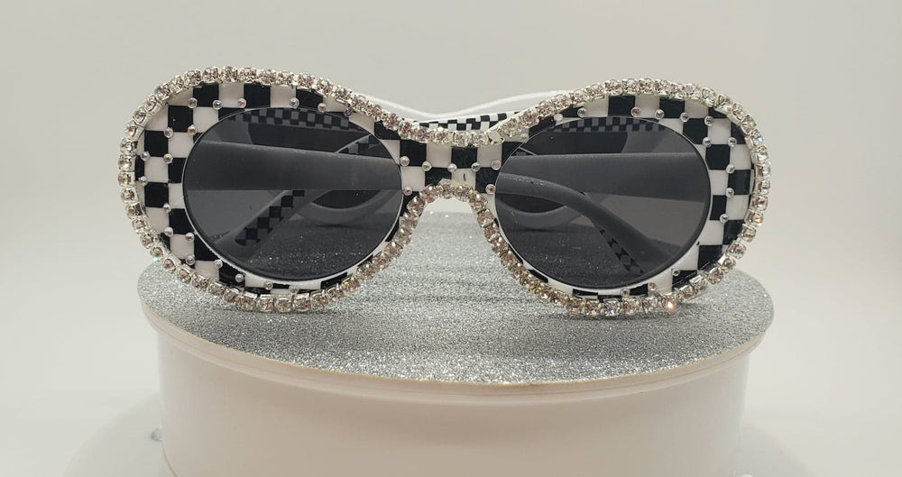 Black & White Checkered Women Sunglasses