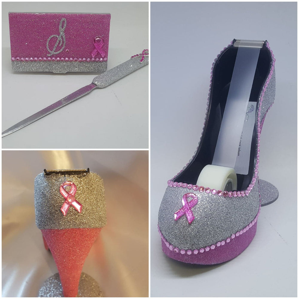 Pink Glitter Rhinestone Biz Card and Letter Opener, Set of 2